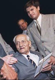 Vijay Hazare with his grandson