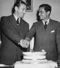 Captains Vijay Hazare (right) and Len Hutton during a party held at The Oval following the abandonment of the final Test between England and India on August 19, 1952