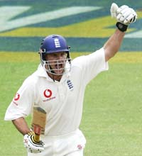 Andrew Strauss celebrates after scoring the winning runs