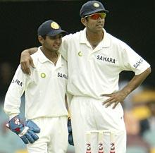 Parthiv Patel (left) with Rahul Dravid