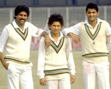 Kapil Dev, Sachin Tendulkar and Mohammed Azharuddin