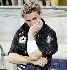 Brendon McCullum is dejected after losing the match