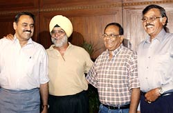 (Left to right) Indian spin legends Bhagwat Chandrasekhar, Bishen Singh Bedi, Erapalli Prasanna and Srinivas Venkatraghavan