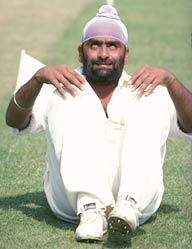 June 1977: Bishen Bedi, then captain of India, does his yoga excercises at Lords in London before the start of the Test against England.