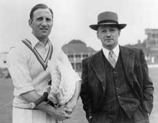 Len Hutton (left) with Don Bradman