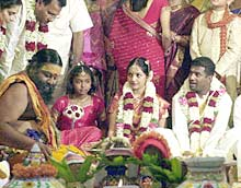 Muthiah Muralitharan during his wedding ceremony in Chennai