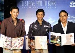 Ajit Agarkar, Narain Karthikeyan and Sunil Gavaskar