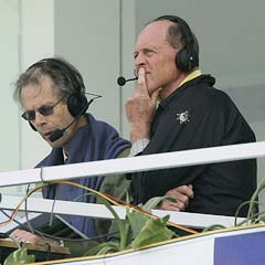 Christopher Martin Jenkins (left) with Geoffrey Boycott