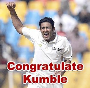 Congratulate Kumble
