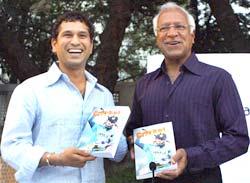 Sachin Tendulkar launches Khalid Ansari's book 'Cricket at Fever Pitch' on Tuesday.