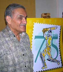Former India captain Nari Contractor unveils the new logo to kick off the Platinum Jubilee celebrations of the historic first cricket Test match played in India