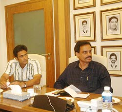 Anil Kumble (left) and Dilip Vengsarkar at the selection committee meeting in Mumbai