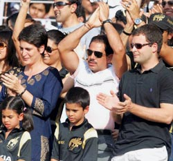Priyanka Vadra (left), her husband Robert Vadra (centre) with their kids and Rahul Gandhi (right) at the Eden Gardens in Kolkata during the IPL match between the Kolkata Knight Riders and Deccan Chargers on Sunday