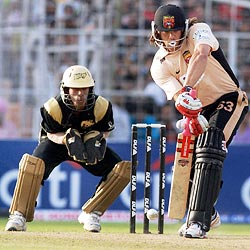 Andrew Symonds of Deccan Chargers in action against the Kolkata Knight Riders in Kolkata on Sunday