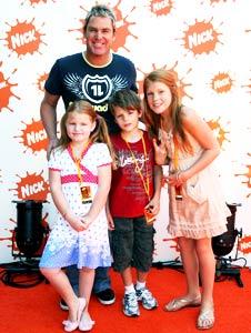 Shane Warne with his three children
