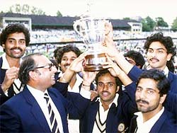 The Indian team with the 1983 World Cup