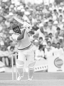 Sandeep Patel in action during the 1983 World cup semi-final match against England at Old Trafford in Manchester