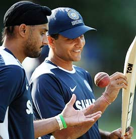 Harbhajan Singh (left) with Sourav Ganguly