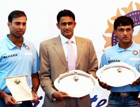VVS Laxman (left) with Anil Kumble (centre) and Sourav Ganguly during BCCI's felicitation ceremony in Nagpur