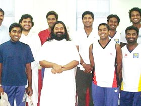Swami Sadyojathah with Sri Lankan cricketers