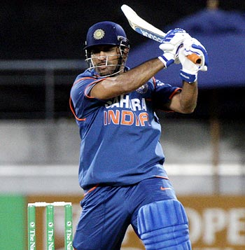 Dhoni in action against West Indies
