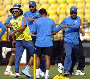 The Indian team during a practice session