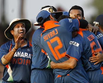 Indian team celebrates winning the first ODI