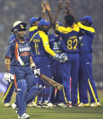 Sri Lankans celebrate Sachin Tendulkar's wicket