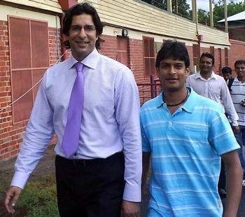 Wasim Akram (left)