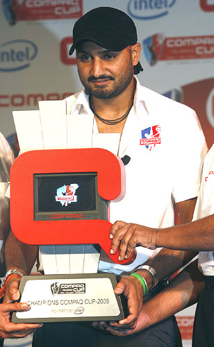 Harbhajan Singh with Compaq Cup trophy