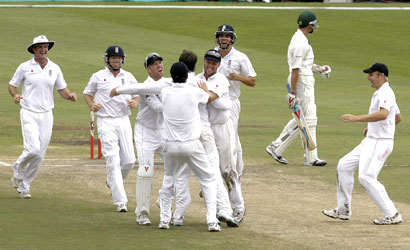 England team celebrates after winning the first Test