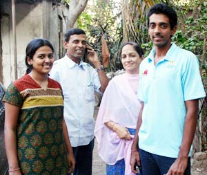 Right to left: Dhawal Kulkarni with his mother Pramila, father Sunil and sister Dhanashree