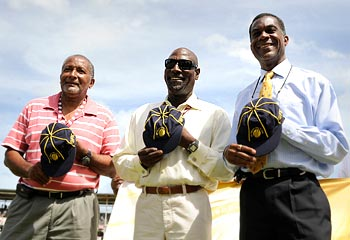 Andy Roberts, Viv Richards and Michael Holding