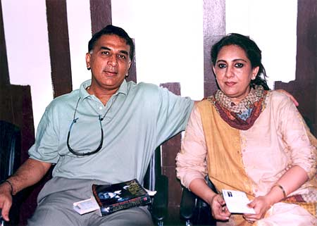 Sunil Gavaskar with his wife Marshniel