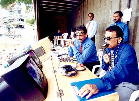 Sunil Gavaskar in the commentary box