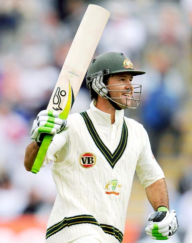 Ricky Ponting celebrates completing his century