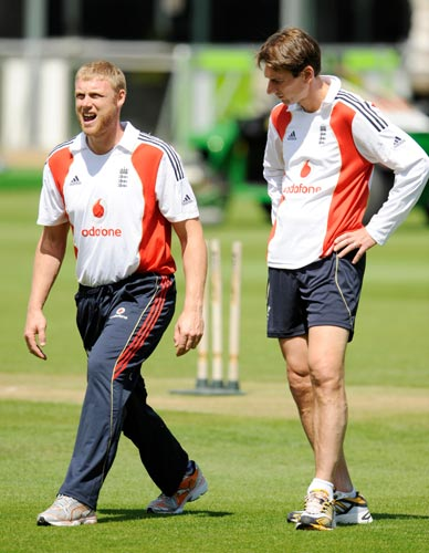 England's Andrew Flintoff (left) is tested by Dr Nick Peirce during a training session prior to the second Ashes test cricket match between England and Australia at Lord's