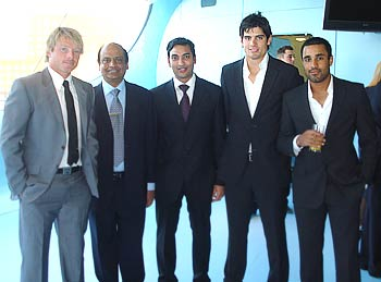 English cricketers Ian Bell, Alastair Cook and Ravi Bopara
