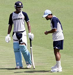 Sachin Tendulkar gives tips to Manoj Tiwary during a nets session in Kolkata