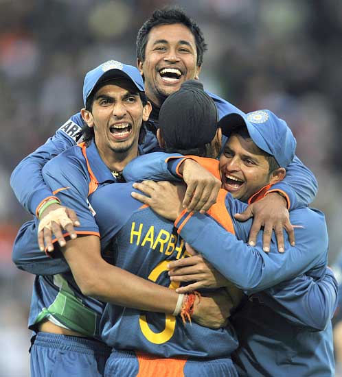 Indians celebrate the wicket of top Bangladesh scorer Junaid Siddique