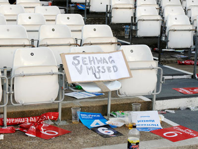 A sign board is left behind after the ICC World Twenty20 cricket super eight match between India and South Africa