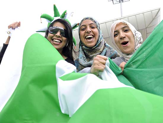 Young Pakistani fans enjoy their time at the semi-final match