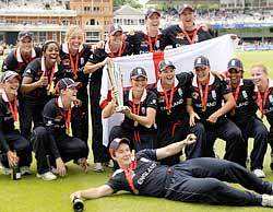 The victorious England women's team