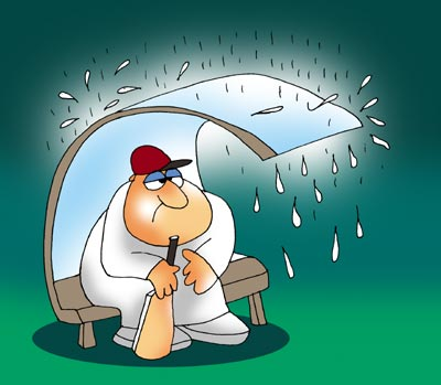An illustration of a batsman waiting for the rains to stop