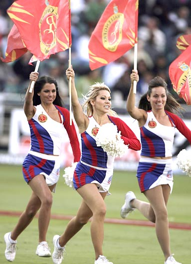Bangalore Royal Challengers' cheergirls entertain the crowd