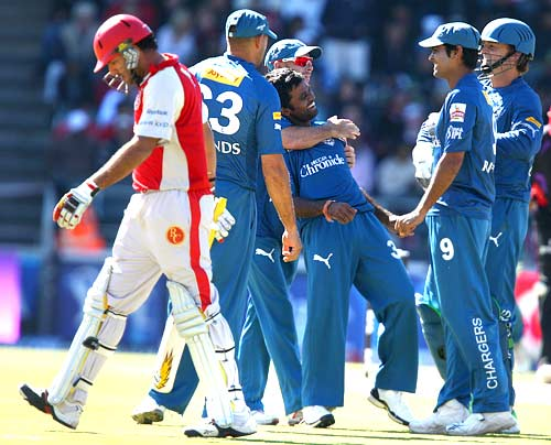 Yuvraj Singh walks back to the pavillion after being cleaned bowled by Venugopal Rao