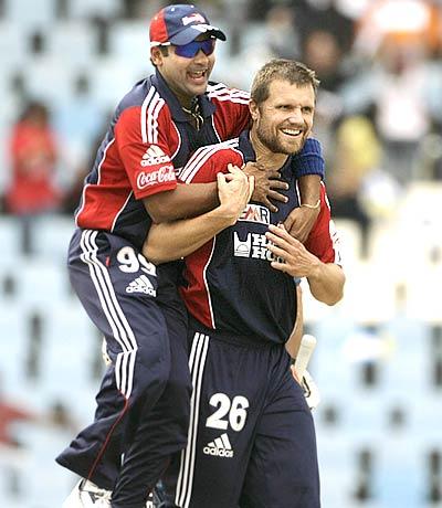 Dirk Nannes and Amit Mishra celebarte