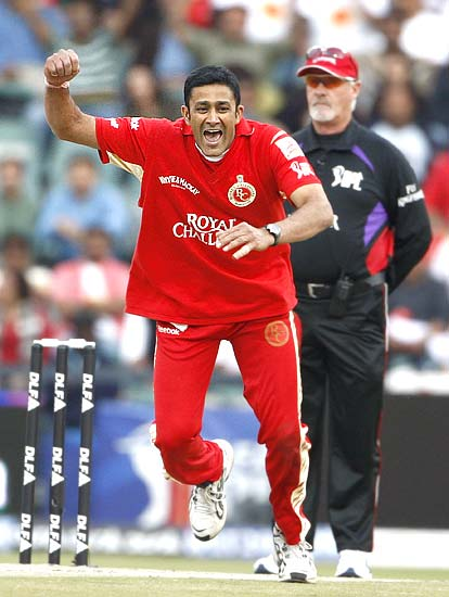 Anil Kumble celebrates after dismissing Adam Gilchrist