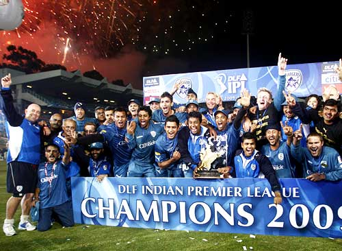 Deccan Chargers celebrate after being presented with the IPL trophy