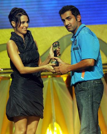 Neha Dhupia (left) with Gautam Gambhir